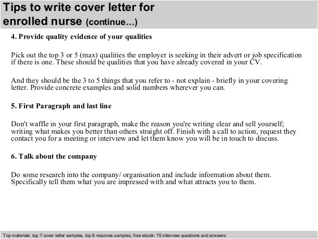 Enrolled Nurse Cover Letter Enrolled Nurse Cover Letter