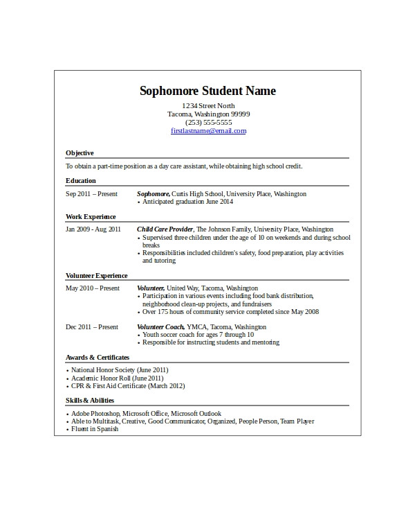 Entry Level Resume Samples for High School Students 10 High School Student Resume Templates Pdf Doc Free