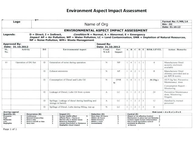 Environmental aspects Register Template Environmental Impact assessment Template Bbfinancials Info