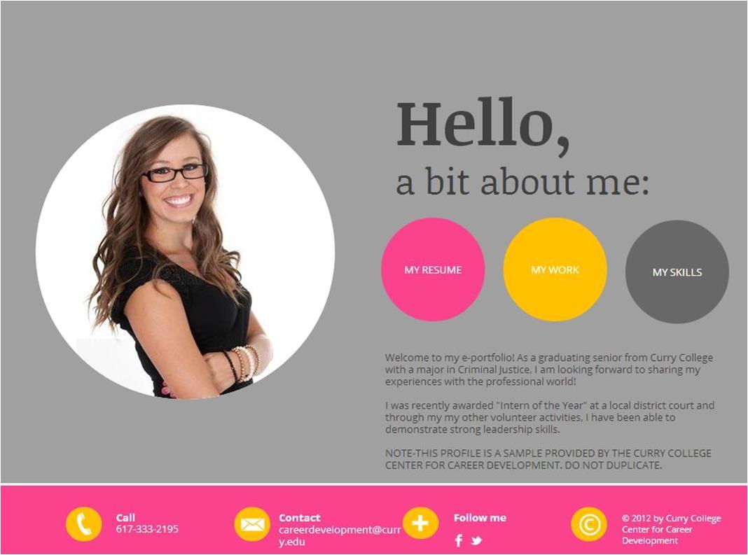 Eportfolio Templates Mycurry Resume Cover Letters