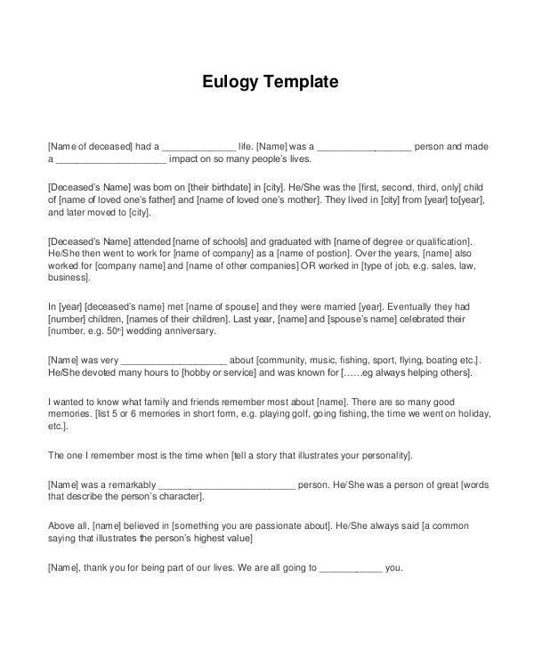 Eulogy Template for A Friend Eulogy Template 10 Free Pdf Documents Download Free