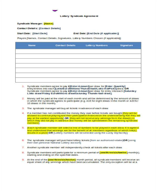 sample lottery syndicate agreement form