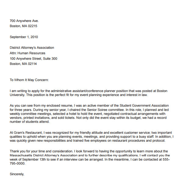 Event Staff Cover Letter 9 Administrative Coordinator Cover Letters to Download