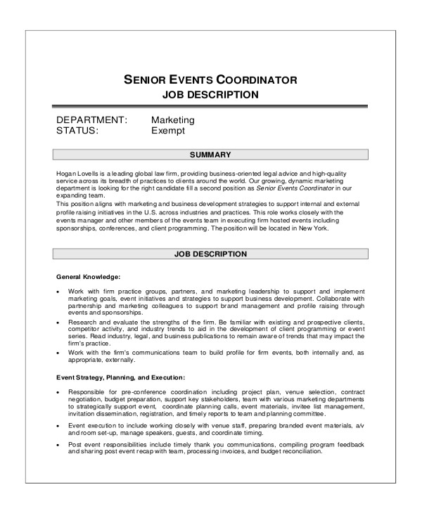 event coordinator job description