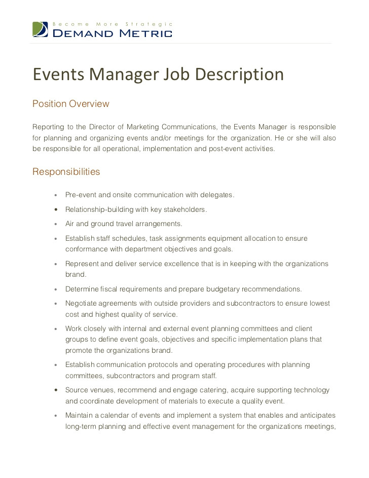 events manager job description