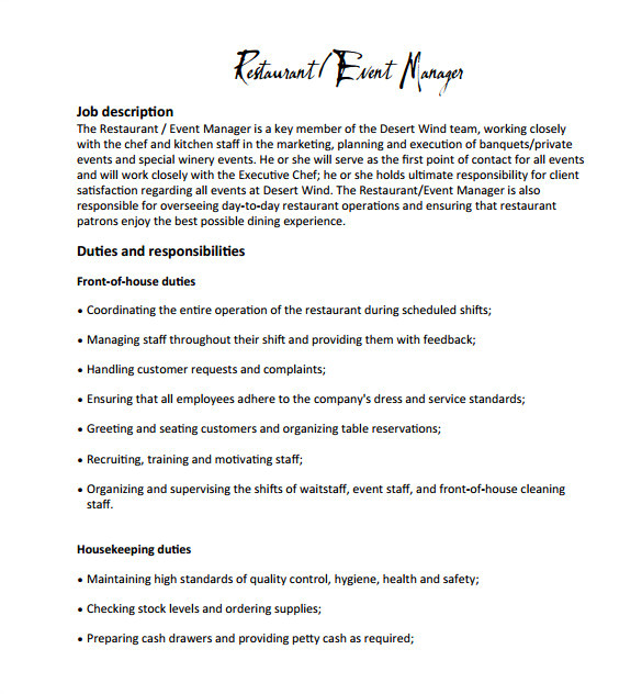 sample restaurant manager job description