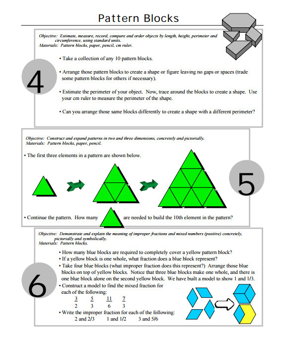 Everyday Math Pattern Block Template 10 Useful Sample Pattern Block Templates to Download