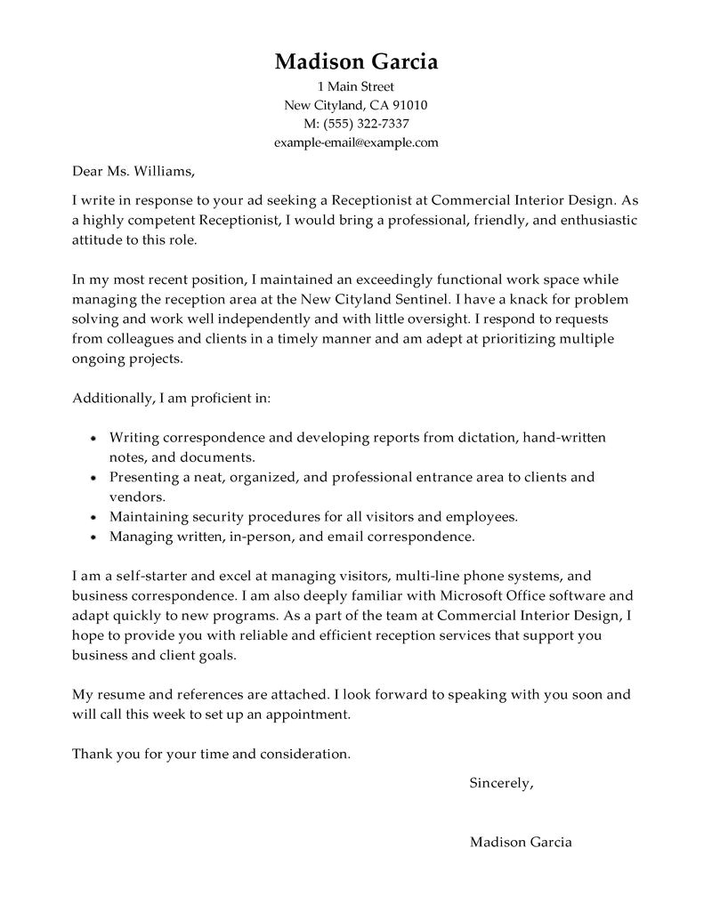Example Of A Cover Letter for A Receptionist Best Receptionist Cover Letter Examples Livecareer