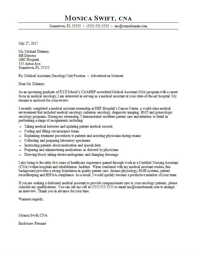 Example Of A Cover Letter for Medical assistant Medical assistant Cover Letter Sample Monster Com