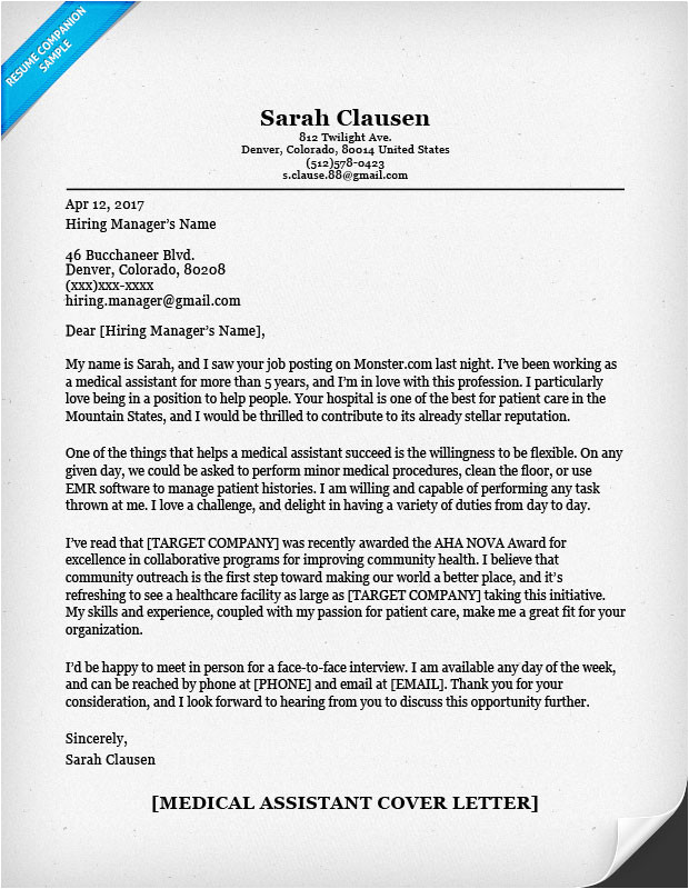 Example Of A Cover Letter for Medical assistant Medical assistant Cover Letter Sample Resume Companion