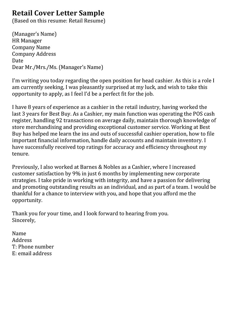 Example Of A Cover Letter for Retail Retail Cover Letter Samples Resume Genius