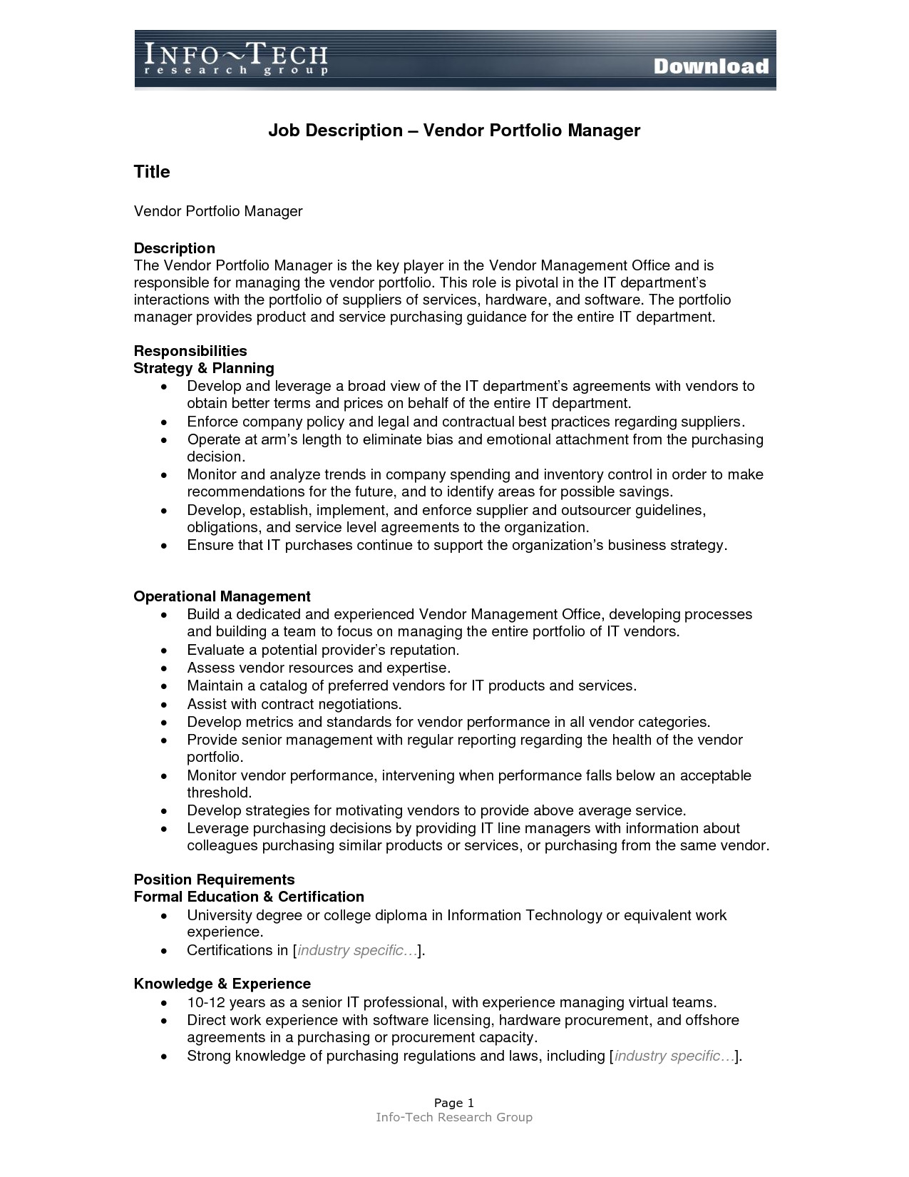 post job description format template 382145