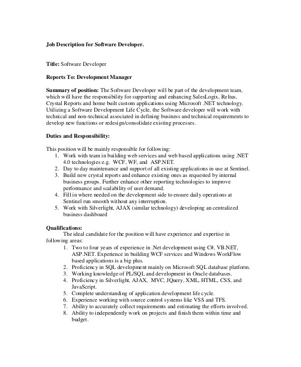 software engineer job description examples