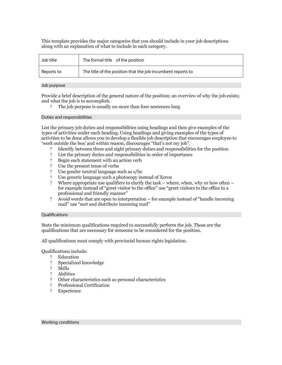 Example Of A Job Description Template 49 Free Job Description Templates Examples Free