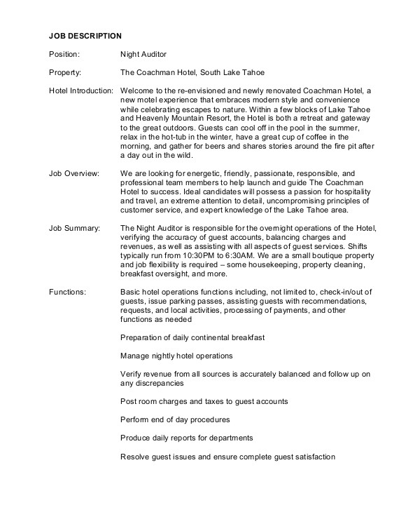 auditor job description examples