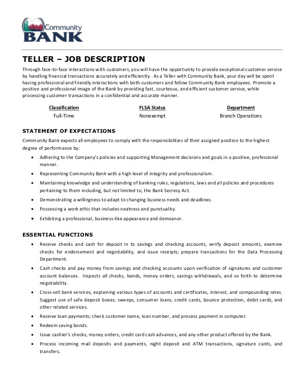 teller job description examples