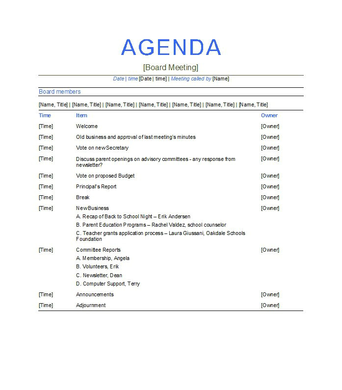 Example Of A Meeting Agenda Template 46 Effective Meeting Agenda Templates Template Lab