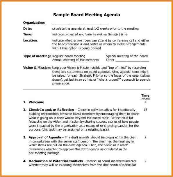 8 agenda example