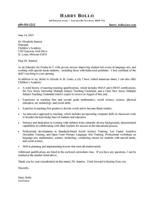 elementary teacher cover letter samples examples of excellent teacher resumes