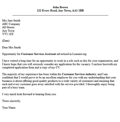 cover letter examples for customer