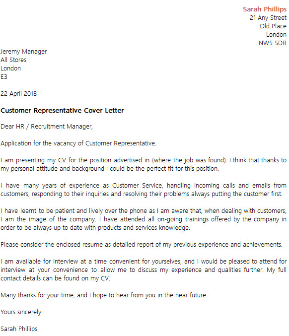 customer representative cover letter example
