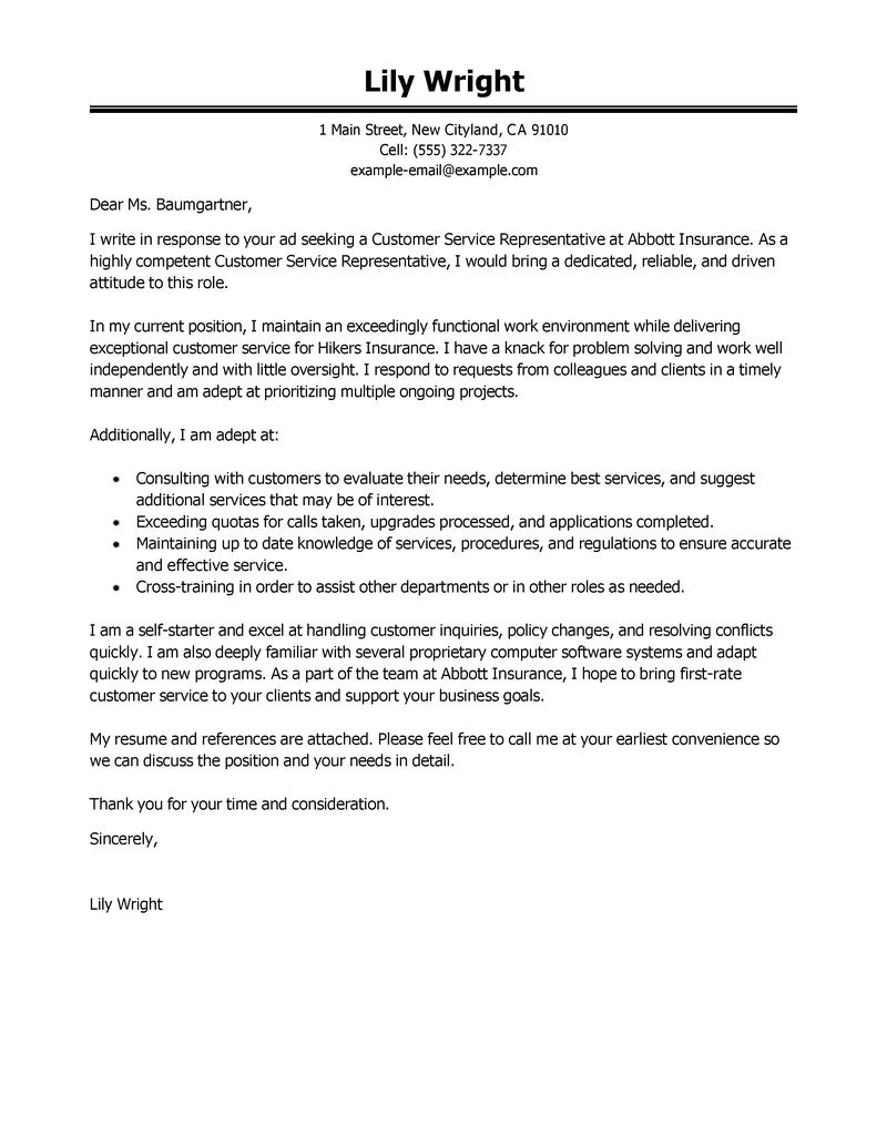 Example Of Cover Letter for Customer Service Representative Leading Professional Customer Service Representative Cover