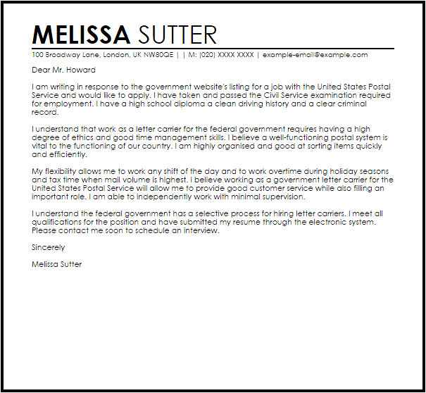 Example Of Cover Letter for Government Job Government Job Sample Cover Letter Cover Letter