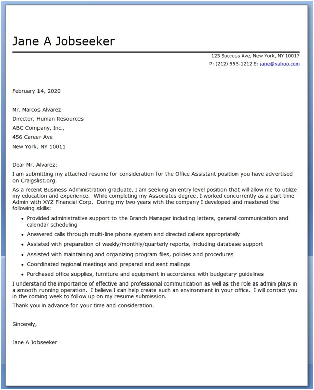 Example Of Cover Letter for Office assistant Office assistant Cover Letter Sample Resume Downloads
