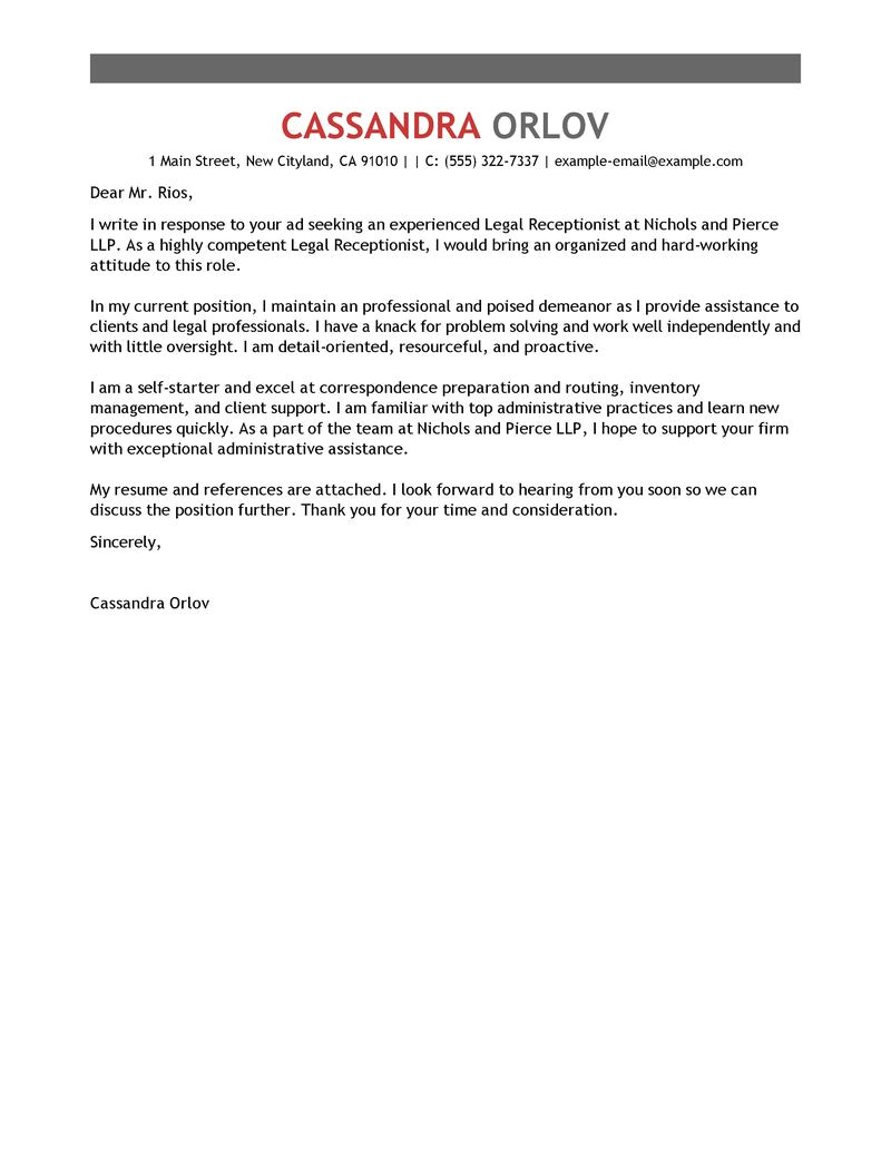 Example Of Cover Letter for Receptionist Position Leading Professional Legal Receptionist Cover Letter