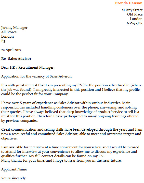 sales advisor cover letter example