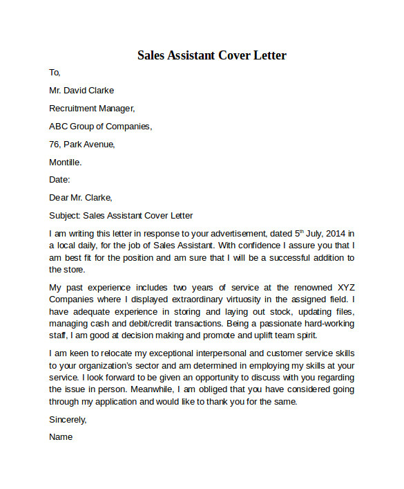 Example Of Cover Letter for Sales assistant Sales assistant Cover Letter