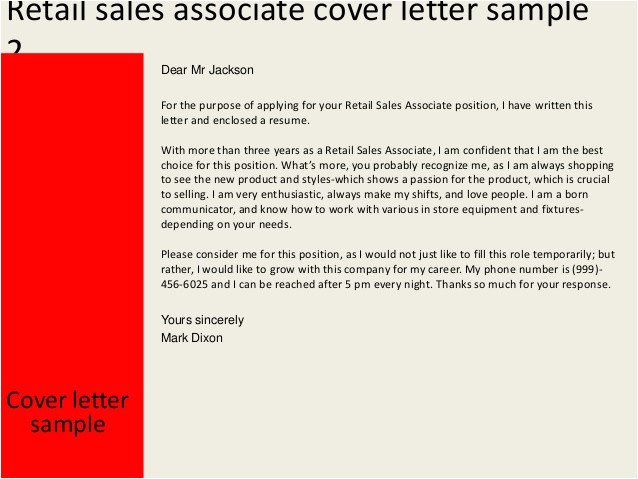 Example Of Cover Letter for Sales associate Position Retail Sales associate Cover Letter
