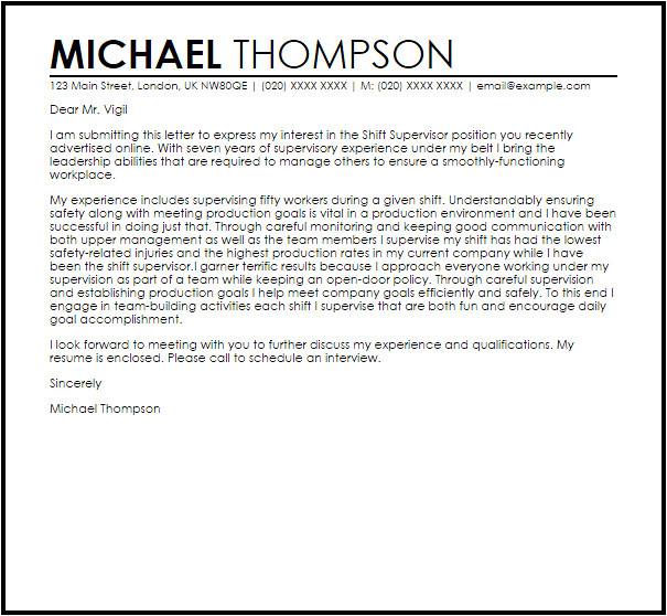 Example Of Cover Letter for Supervisor Position Shift Supervisor Cover Letter Sample Cover Letter