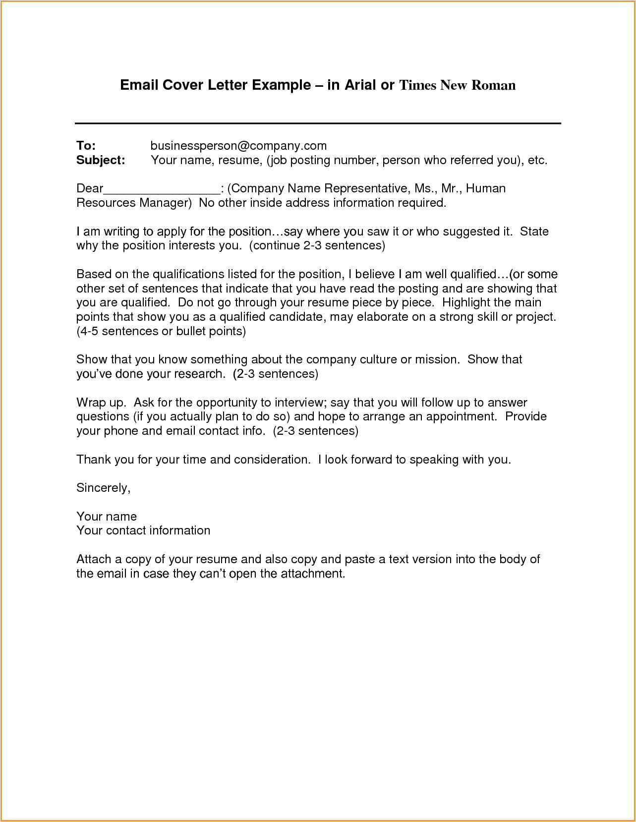 7 how to write email letter for job application