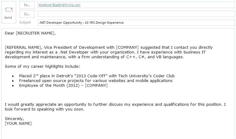 example of email cover letter to job application