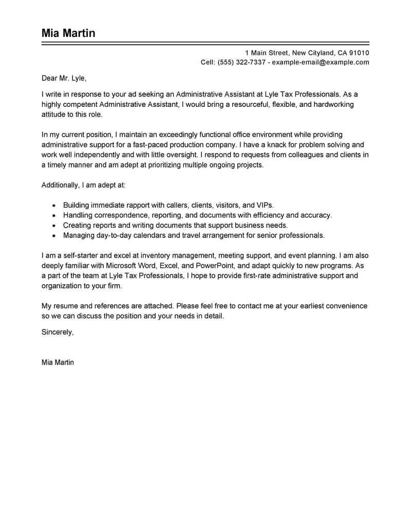 Examples Of Cover Letters for Administrative assistant Positions Best Administrative assistant Cover Letter Examples