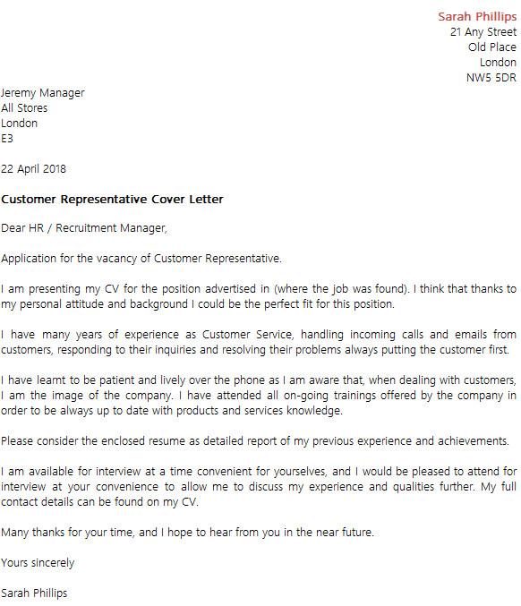 customer representative cover letter example