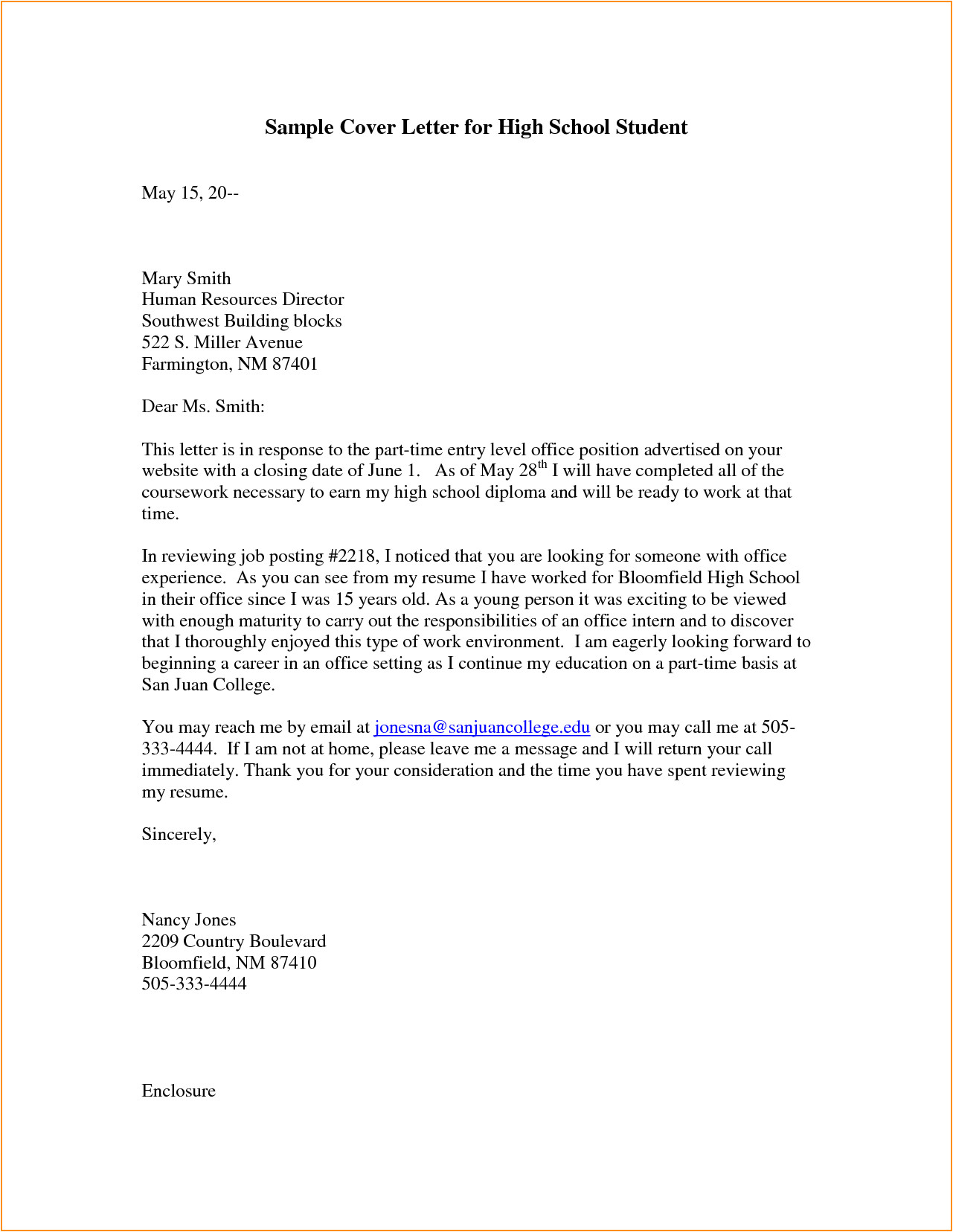 Examples Of Cover Letters for High School Students 9 Highschool Cover Letter Invoice Template Download