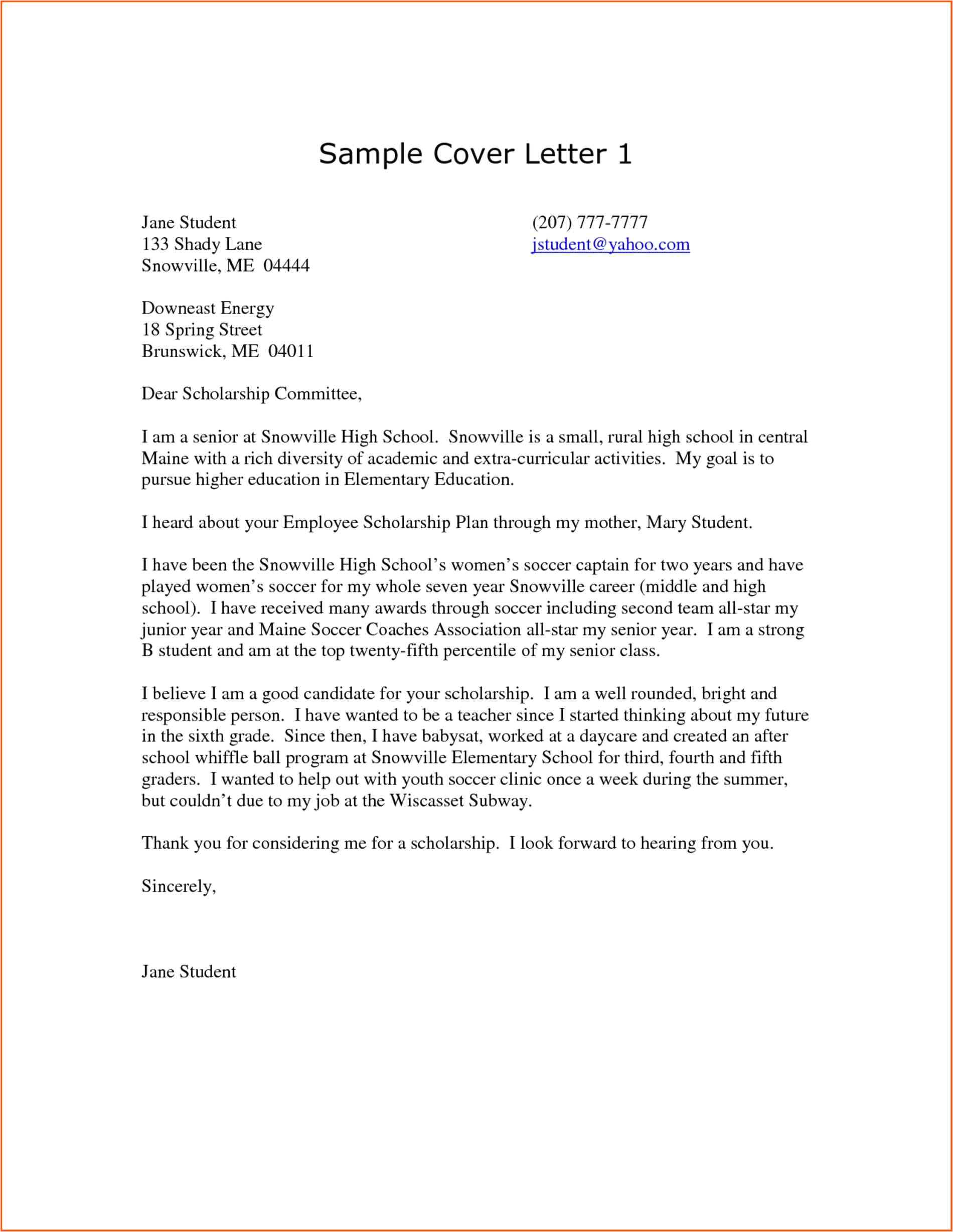 high school student cover letter template