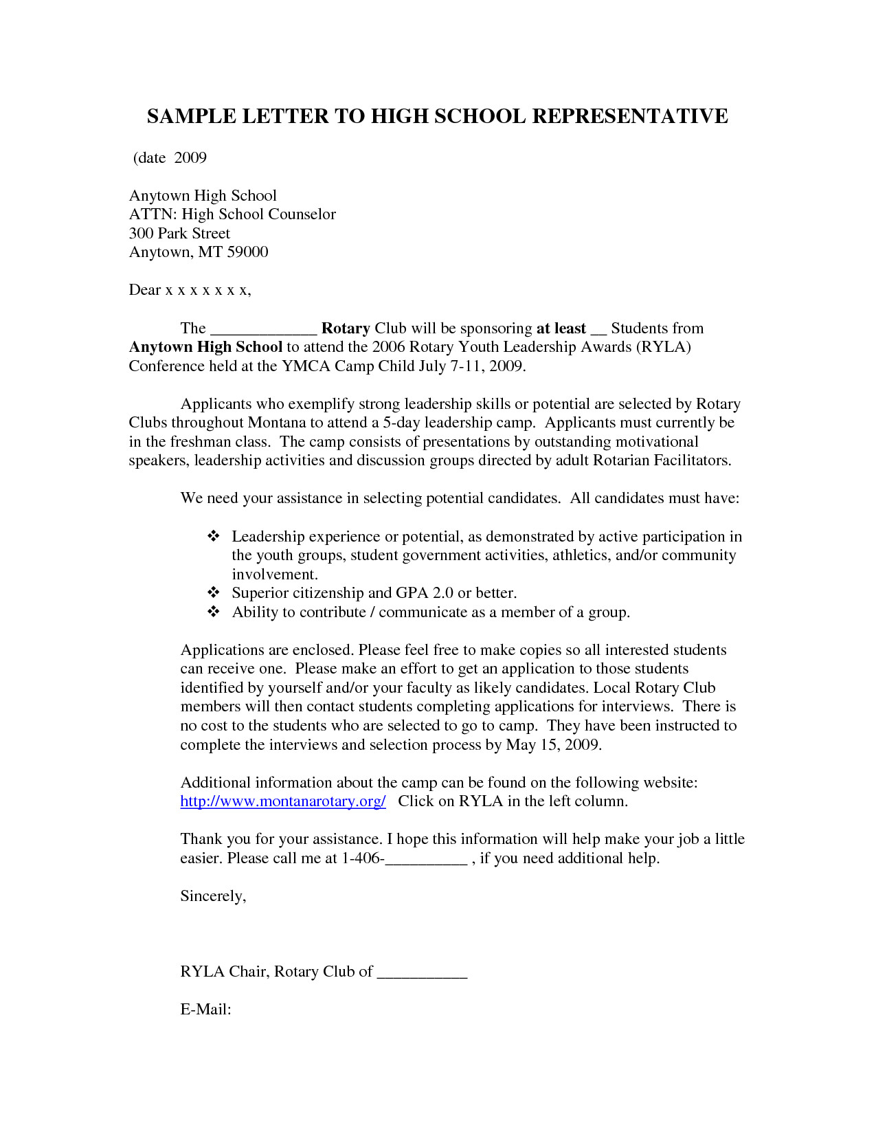 Examples Of Cover Letters for High School Students Sample Cover Letter for High School Student with No Work