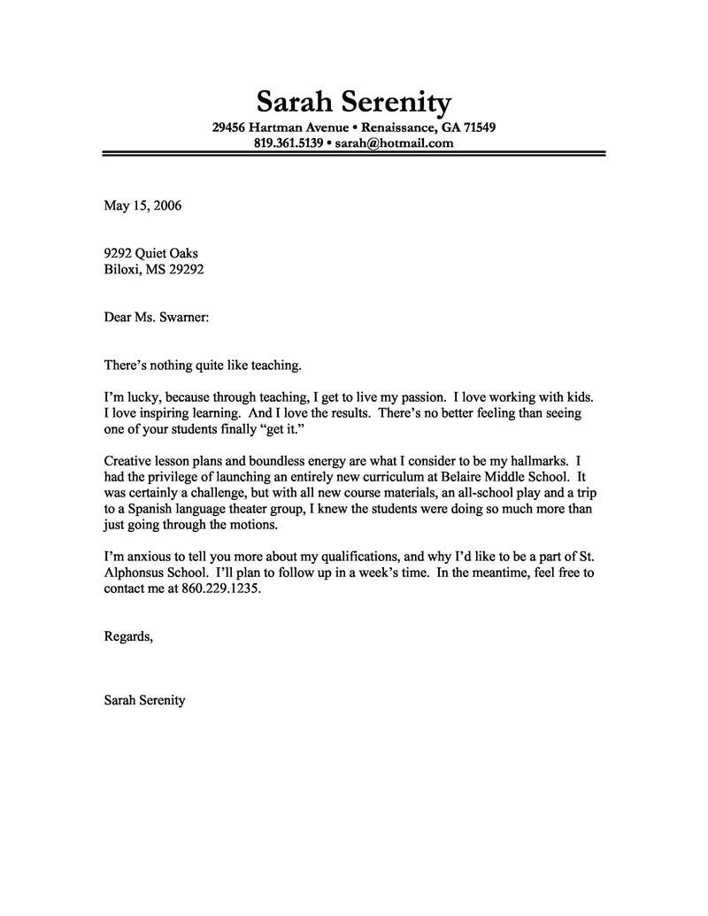 Examples Of Cover Letters for Teaching Jobs Cover Letter Example Of A Teacher with A Passion for