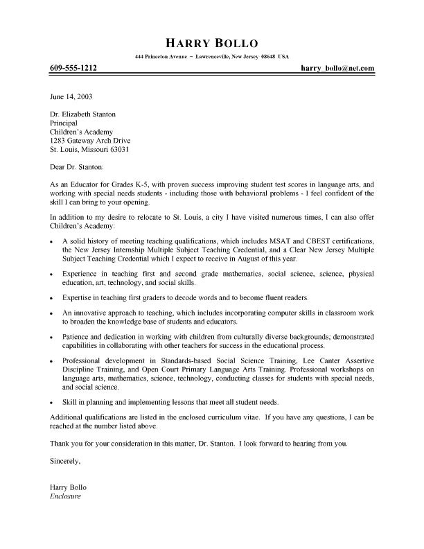 Examples Of Cover Letters for Teaching Jobs Professional Teacher Cover Letter Job Hunt Pinterest