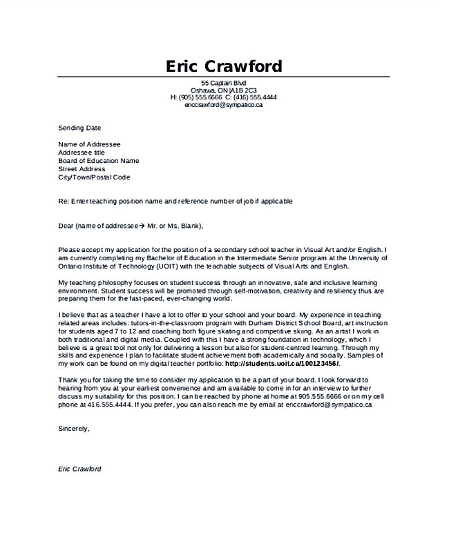 Examples Of Cover Letters for Teaching Jobs Teaching Cover Letter Examples for Successful Job Application
