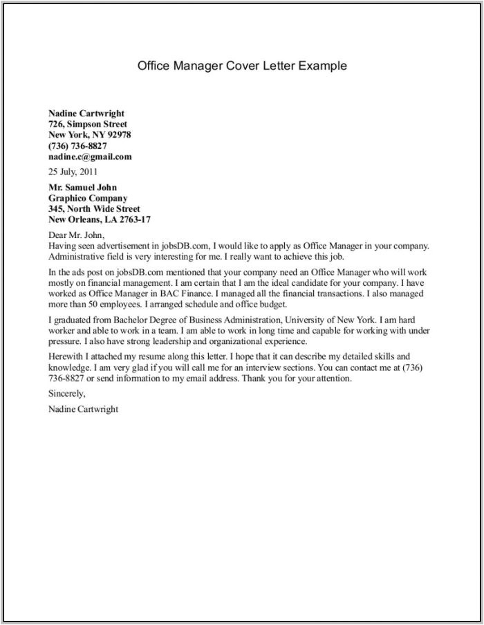 Examples Of Cover Letters Generally Sample Cover Letter for Resume General Labor Cover