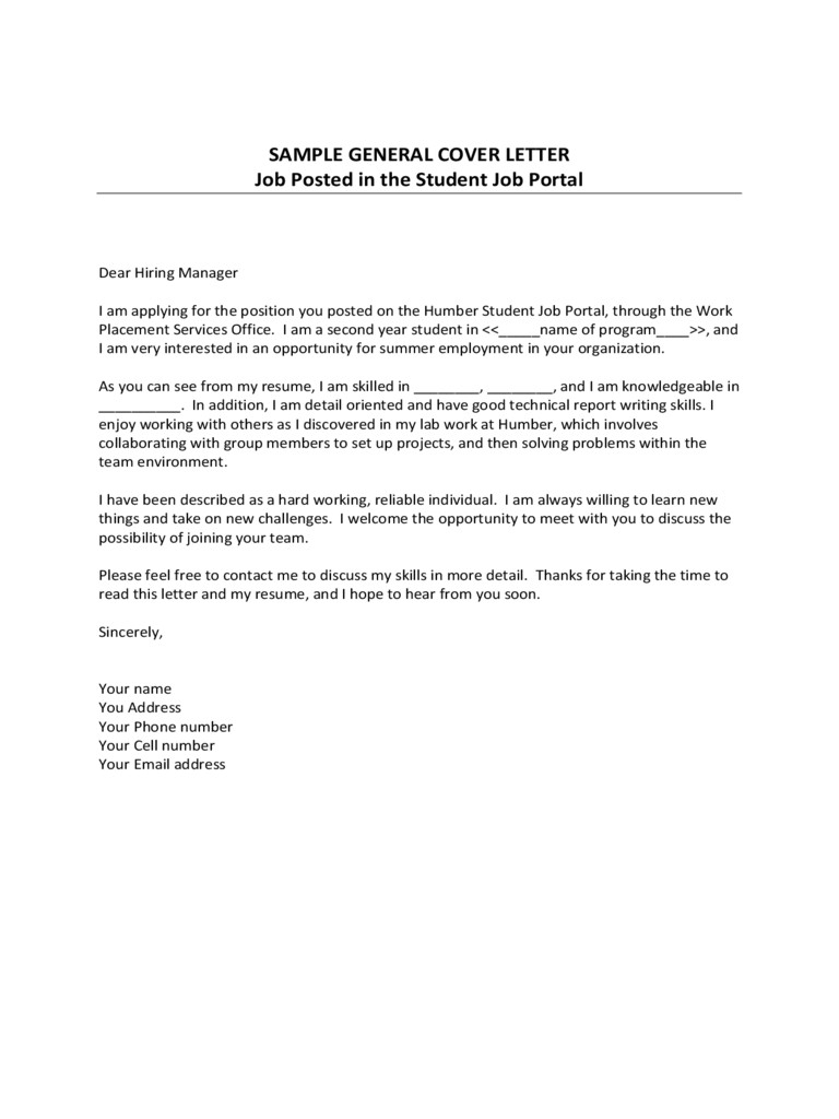 sample general cover letter template