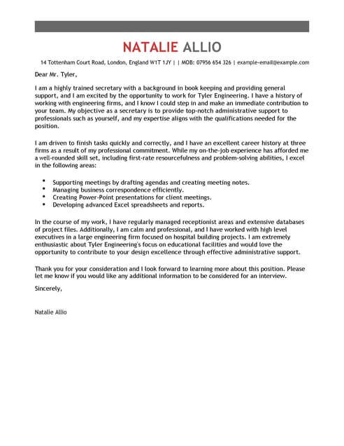 Examples Of Good Cover Letters Uk Secretary Cover Letter Template Cover Letter Templates