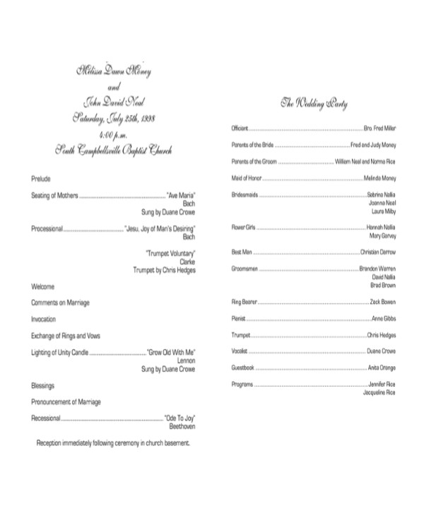Examples Of Wedding Programs Templates 10 Wedding Program Templates Free Sample Example