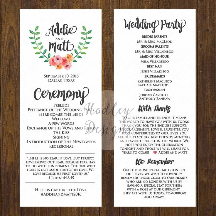 Examples Of Wedding Programs Templates Wedding Programs Wedding Ceremony Programs Wedding