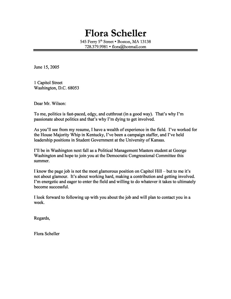 example of well written cover letter