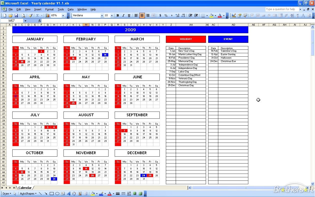 calendar template for excel 98